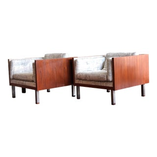 Mid Century Modern Danish Teak Cube Chairs For Sale