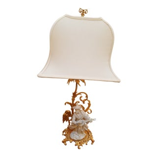 Chinoiserie Porcelain Figurine Mounted on Gold Rococo Base as Table Lamp For Sale