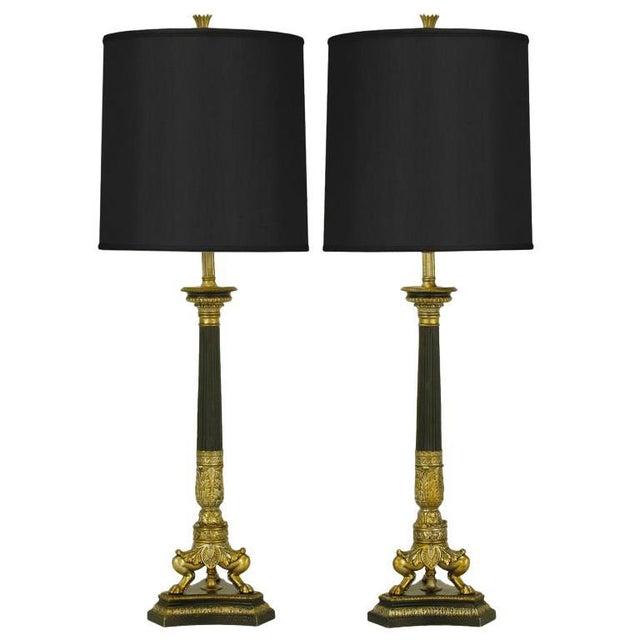 Black Empire Style Triple Lion Paw Gilt & Black Lacquer Table Lamps For Sale - Image 8 of 8
