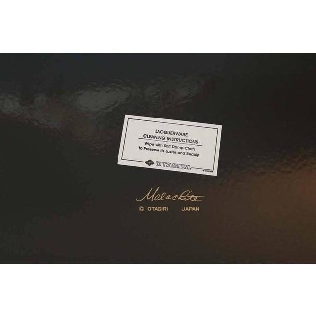 Fantastic Otagiri Faux Lacquered Malachite Gilt Rimmed Serving Tray - Image 3 of 3