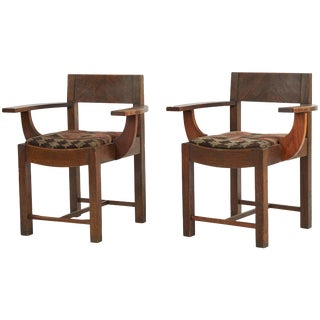 Arts and Crafts Wooden Armchairs Upholstered in Kilim Fabric - a Pair For Sale