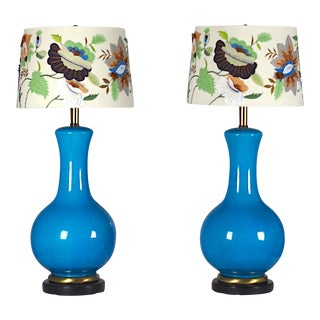Mid-Century Large Blue Table Lamps- A Pair For Sale