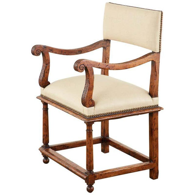 English Gothic Revival Wainscot Style Carved Hall Chair For Sale - Image 13 of 13