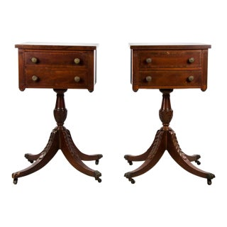 19th Century Edwardian Two Drawer Side Tables - a Pair For Sale