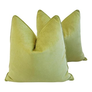 "Large Custom-Tailored Apple Green Velvet Feather/Down Pillows 24"" Square - Pair For Sale"
