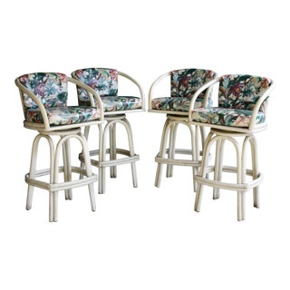 Elephant Ear Tropical Rattan Bar Stools, Set of 4 For Sale