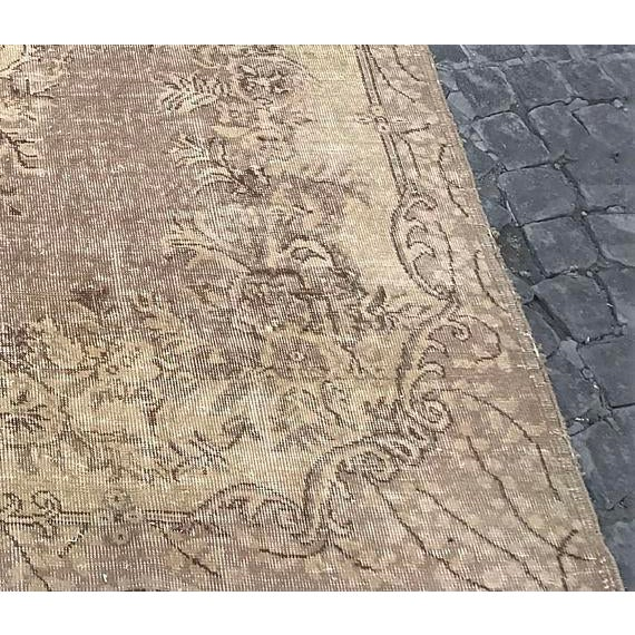 Floor Overdyed Beige Rug - 5′6″ × 9′1″ For Sale - Image 5 of 6
