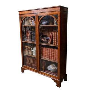 1880s English Walnut Bookcase For Sale