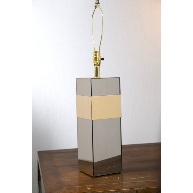 Paul Evans Style Glass & Brass Table Lamp - Image 4 of 7