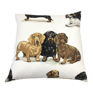 "Barclay Butera ""Kingsley"" Dachshund Print Linen Pillow Cover For Sale"