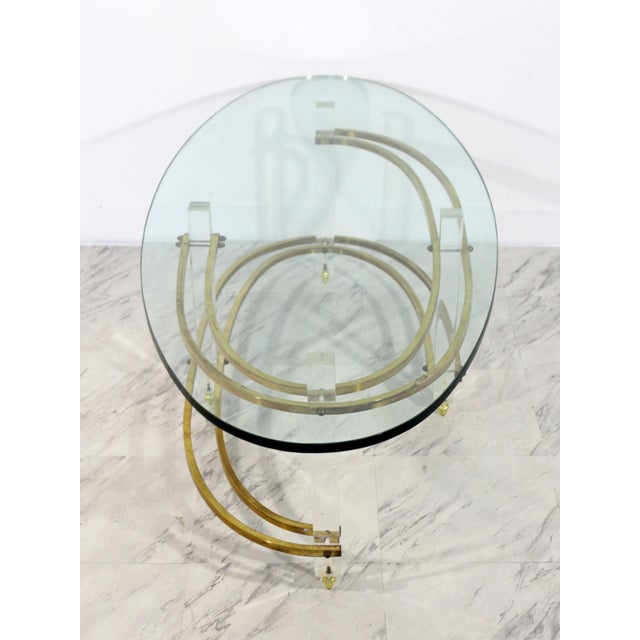 Mid Century Modern Brass Lucite Surfboard Coffee Table Hollis Jones 1970s For Sale In Detroit - Image 6 of 9