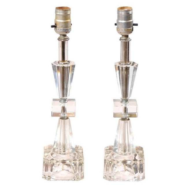 Art Deco Petite Crystal and Glass Lamps - Image 1 of 6