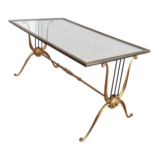 Pair Mid Century Lyre Design Brass Coffee Table With Clear Glass Top For Sale