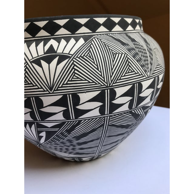 Black Acoma Pueblo Pottery Polychrome Bowl Signed Chino For Sale - Image 8 of 13