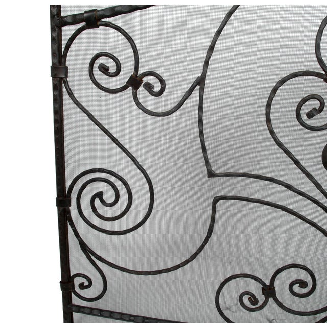 Handmade Wrought Iron Fireplace Screen For Sale - Image 5 of 9