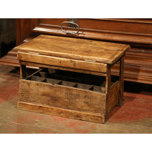 Pine Old French Pine 15 Wine Bottle Storage Cabinet with Bordeaux Inscription For Sale - Image 7 of 8