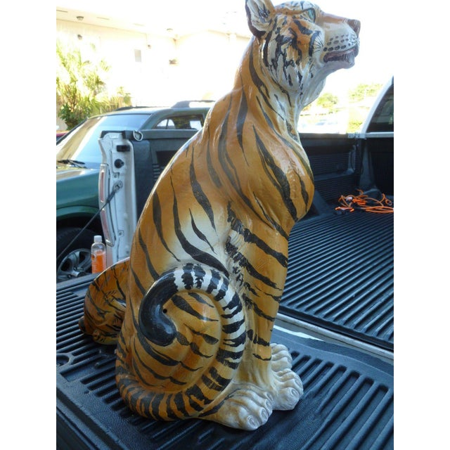Pair of Large Mid-Century Italian Glazed Terracotta Tigers, Mother and Her Cub For Sale In Miami - Image 6 of 13