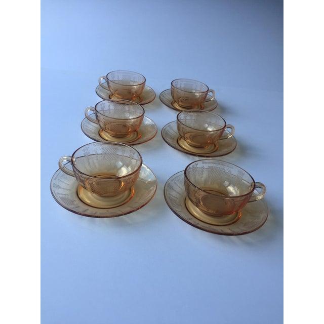 Orange Antique Fleur De Lis Etched Amber Glass Tableware Set - Set of 37 For Sale - Image 8 of 11