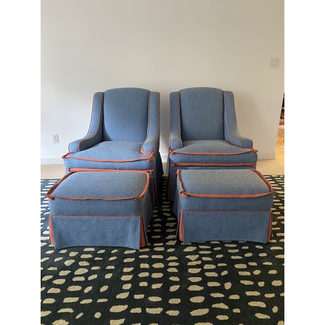 Custom Made Large Swivel Chairs With Ottomans - 4 Pieces For Sale - Image 4 of 13