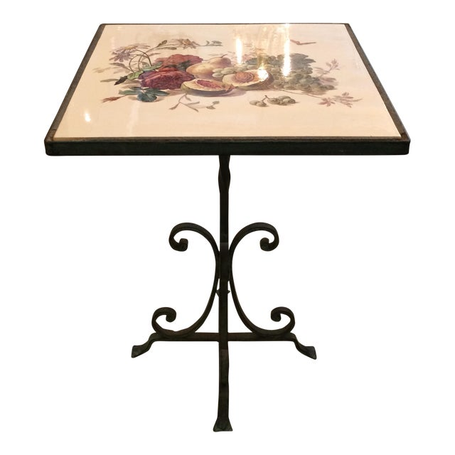 1950s Traditional Tile Occasional Table on Metal Stand For Sale