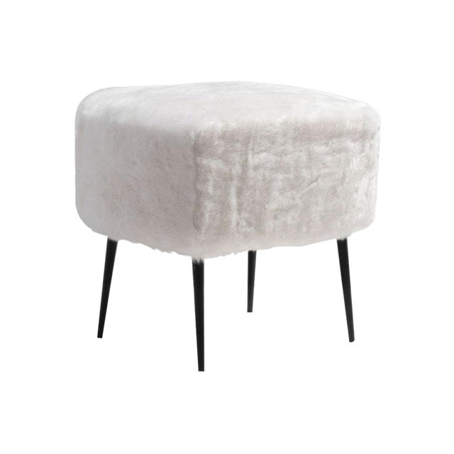 Mid-Century White Fur Stool - Image 1 of 2