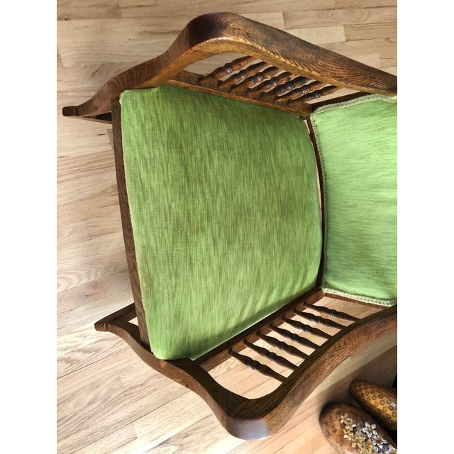 Green Late 19th Century Antique Oak Wood Mortise and Tenon Upholstered Rocking Chair For Sale - Image 8 of 13