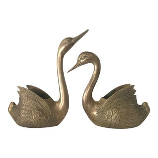 Vintage Mid-Century Hollywood Regency Brass Swan Planters- a Pair For Sale