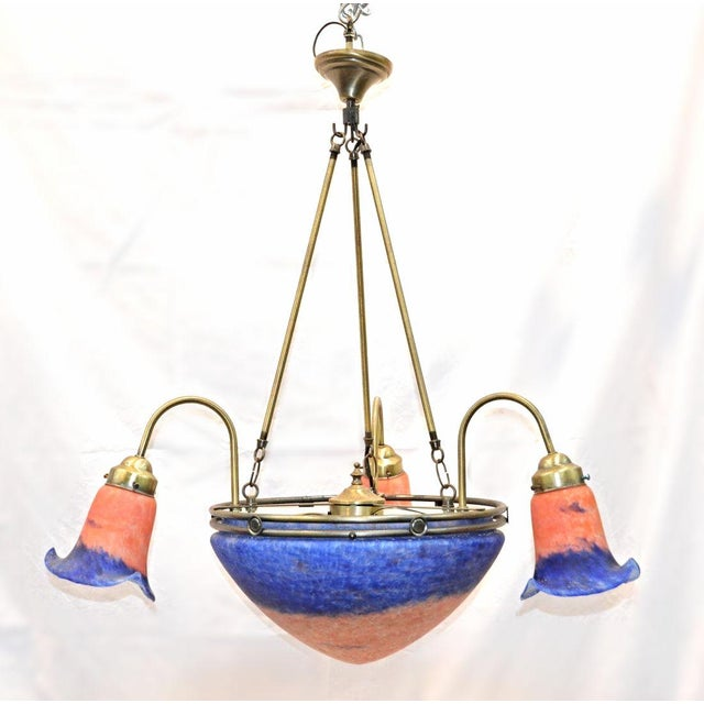 This Is One Bright Idea Outstanding Cased Glass Dome Chandelier With Ruffled Shades You