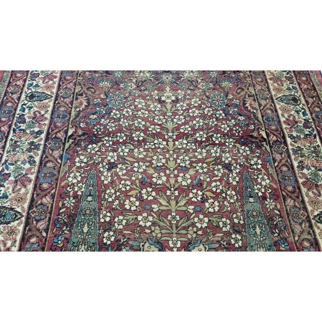 """Late 19th Century Antique Kerman Handmade Wool Rug - 4'4"""" X 6'6"""" - Size Cat. 4x6 5x7 For Sale - Image 5 of 8"""