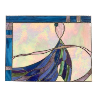 Tiffany-Style Stain Glass Rectangular Wall Panel For Sale
