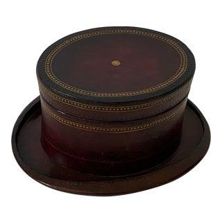 Vintage Maitland-Smith Box Hat Form Gold Embossed and Imprint Embellished Leather For Sale