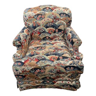 1990s Vintage Patterned Club Chair For Sale