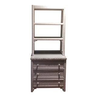 Vintage Henry Link White Wicker Dresser and Shelf For Sale