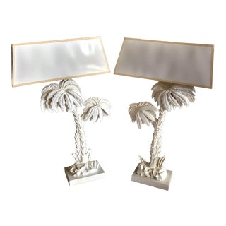 Mid 20th Century White Hollywood Regency Palm Lamps - a Pair For Sale