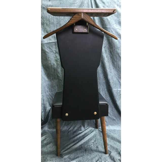 Mid-Century Modern 1960s Mid Century Modern Black Vinyl & Wood Butler Storage Chair For Sale - Image 3 of 10
