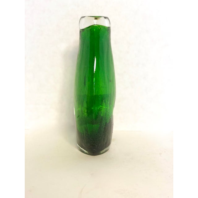 Contemporary Modern Hand-Blown Green Glass Vase For Sale - Image 3 of 8