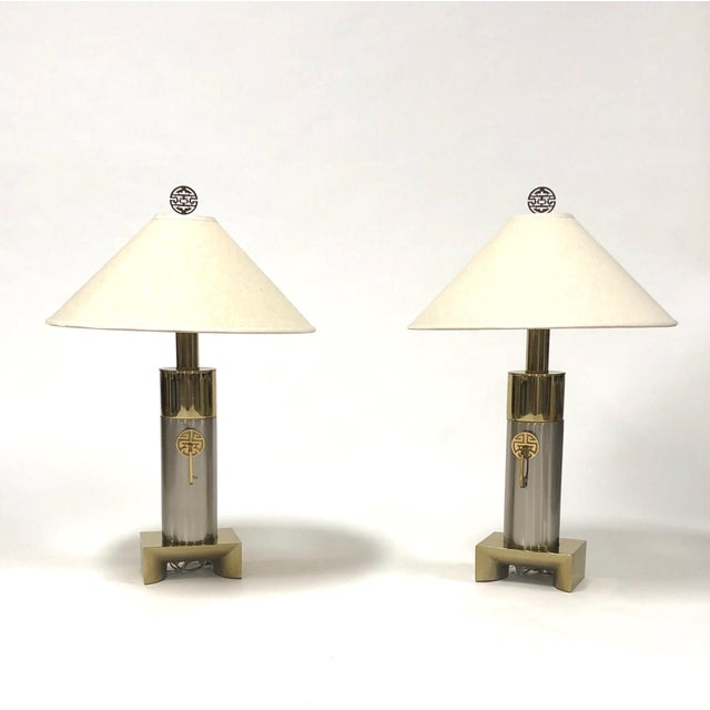 1970s Laurel Brushed Chrome and Brass Asian Inspired Lamps - a Pair For Sale - Image 5 of 5