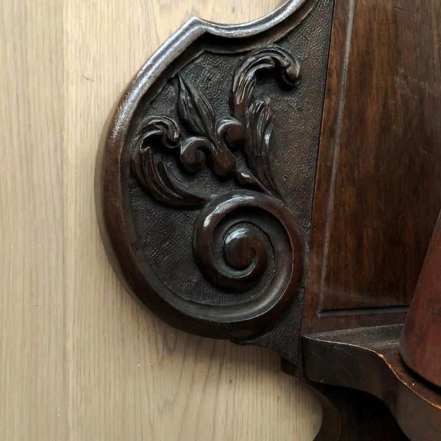 19th Century French Fleur De Lys Embossed Copper Wall Fountain on Original Wood Plaque For Sale - Image 10 of 12