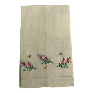Antique Lemon Yellow Linen Hand Towel For Sale
