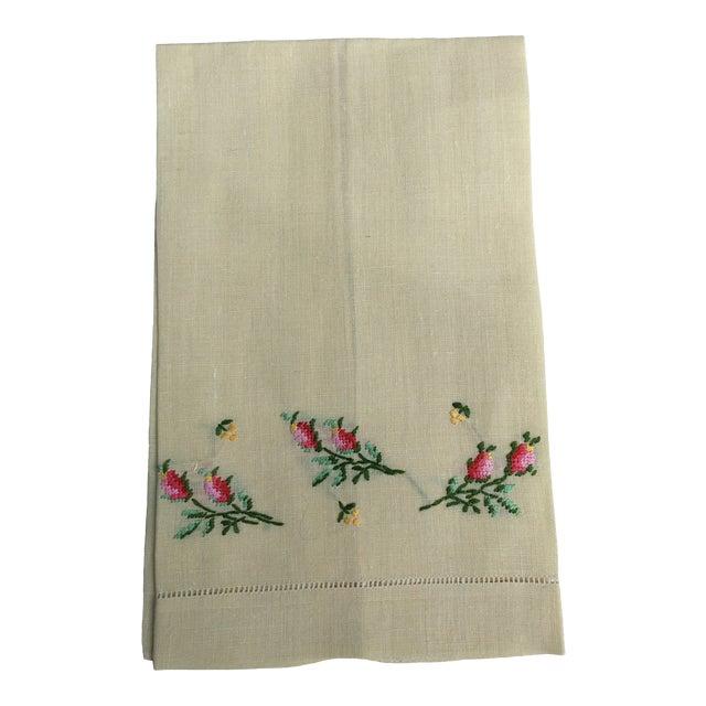 Antique Lemon Yellow Linen Hand Towel For Sale
