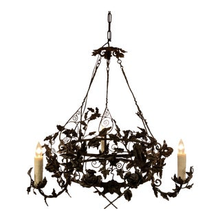 Vintage French 3-Light Iron Chandelier For Sale