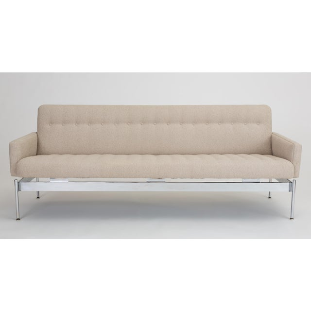 Mid-Century Modern Tufted Bouclé Sofa With Chrome Base For Sale - Image 13 of 13