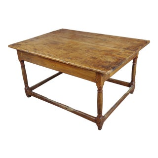 19th Century English Traditional Walnut Farm Coffee Table For Sale