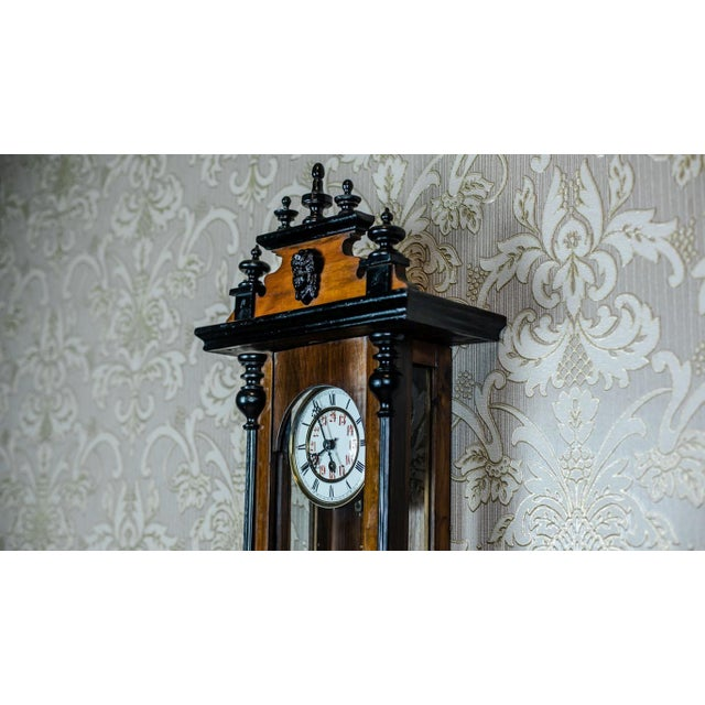 19th Century 19th-Century Wall Clock With Carvings For Sale - Image 5 of 13