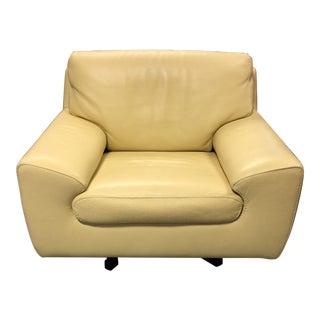 Roche Bobois Leather Swivel Armchair For Sale
