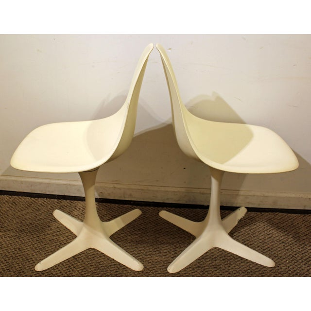 Burke Mid-Century Tulip Style Swivel Side/Dining Chairs - A Pair - Image 3 of 11
