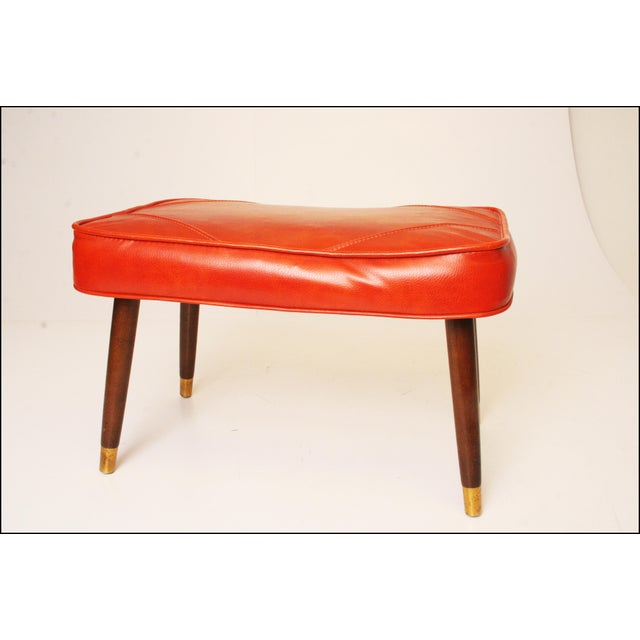 Mid-Century Modern Orange Vinyl Foot Stool - Image 5 of 11