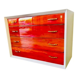 Contemporary Solid Wood 4-Drawer Dresser Mid Century Modern For Sale