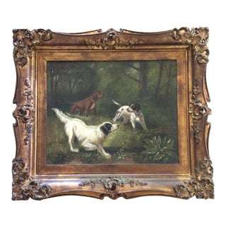 Antique Hunting Dogs Oil Painting in Baroque Frame For Sale