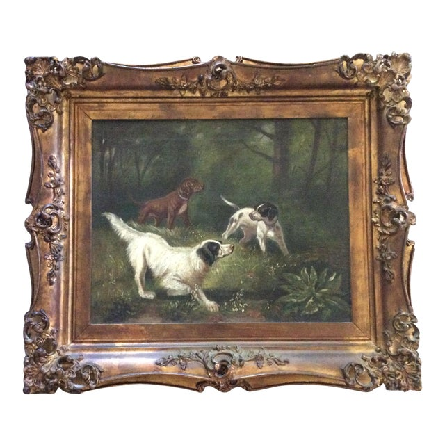 Antique Hunting Dogs Oil Painting in Baroque Frame | Chairish